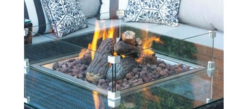 Ceramic Logs and Lava for Square Firepit