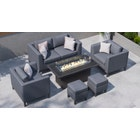 Birkin 10D - 2 Seat Sofa Set with Gas Fire Pit Coffee Table and Footstools