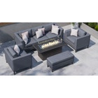 Birkin 11D - 3 Seat Sofa Set with Gas Fire Pit Coffee Table and Bench