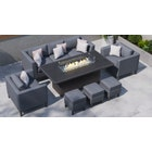 Birkin 11E - 2 Seat Sofa Set with Gas Fire Pit Dining Table and Footstools