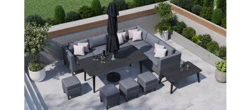 Birkin 2F - Extended Corner Sofa And Dining Combo