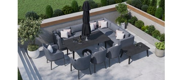 Birkin 2L - Extended Corner Sofa And Dining Combo With 4 X Dining Chair