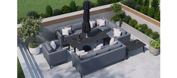 Birkin 2N - Extended Corner Sofa Combo With Dining Table & Sofas