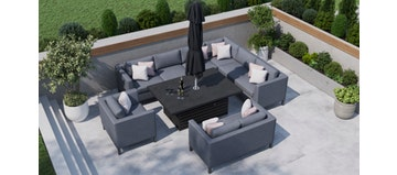 Birkin 2R - Extended Corner Sofa With Rising Table And Sofas