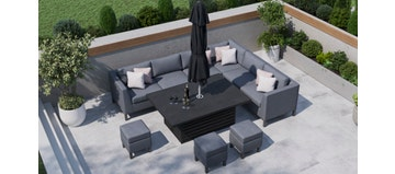 Birkin 2S - Extended Corner Sofa With Rising Table And Footstools