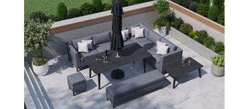 Birkin 2U - Extended Corner Sofa And Dining Combo With Bench