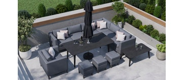 Birkin 2W - Extended Corner Sofa And Dining Combo With Armchair
