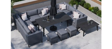 Birkin 5E - U Shaped Sofa Combo With Dining Table & Footstools
