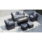 Salone 10D - 3 Seat Sofa with Coffee Table with Footstools and Armchairs