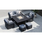 Salone 10E - 2 Seat Sofa Set with Gas Fire Pit Dining Table and Footstools