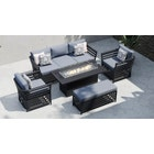 Salone 11D - 3 Seat Sofa Set with Gas Fire Pit Coffee Table and Bench