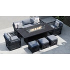 Salone 11E - 3 Seat Sofa Set with Gas Fire Pit Dining Table and Footstools