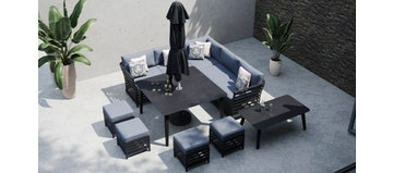 Salone 1D - Corner Sofa With Square Dining Table