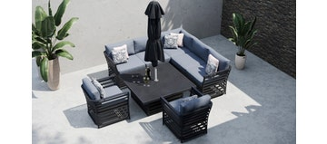 Salone 1L - Corner Sofa with Square Rising Table and Armchairs