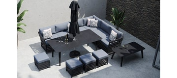 Salone 2F - Extended Corner Sofa and Dining Combo