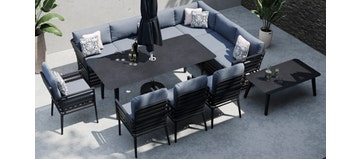Salone 2L - Extended Corner Sofa and Dining Combo with 4x Dining Chair