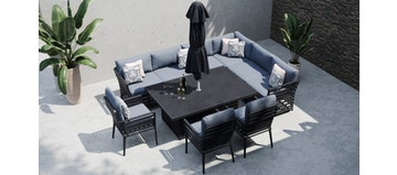Salone 2T - Extended Corner Sofa with Rising Table and Dining Chairs