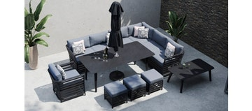 Salone 2W - Extended Corner Sofa and Dining Combo with Armchair