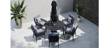 Salone 6R - 6 Seat Dining with Ceramic Glass Top Table