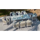 Sky 8-Seat Dining Set with Glass Table