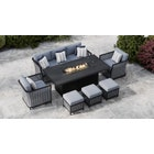 Talia 11E - 3 Seat Sofa Set and Gas Fire Pit Dining Table with Footstools