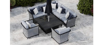Talia 1L - Corner Sofa With Square Rising Table and Armchairs