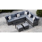Talia 2B - Extended Corner Sofa with Coffee Table and Footstools