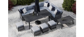 Talia 2F - Extended Corner Sofa And Dining Combo