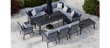 Talia 2L - Extended Corner Sofa And Dining Combo With 4 X Dining Chair