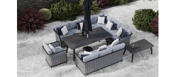 Talia 2N - Extended Corner Sofa Combo With Dining Table & Sofas