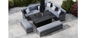 Talia 2Q - Extended Corner Sofa With Rising Table And Benches