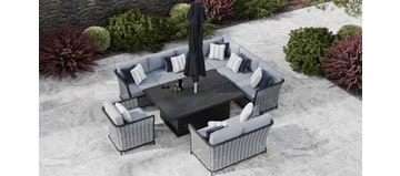 Talia 2R - Extended Corner Sofa With Rising Table And Sofas
