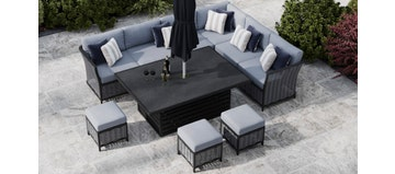 Talia 2S - Extended Corner Sofa With Rising Table And Footstools