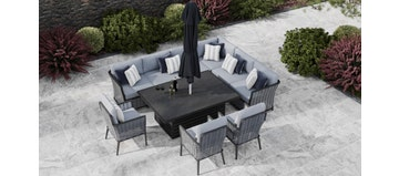 Talia 2T - Extended Corner Sofa With Rising Table And Dining Chairs