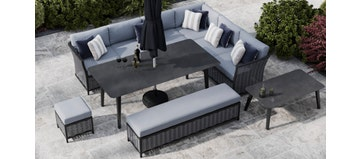 Talia 2U - Extended Corner Sofa And Dining Combo With Bench