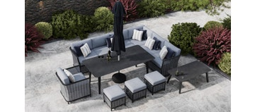 Talia 2W - Extended Corner Sofa And Dining Combo With Armchair