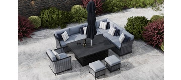 Talia 2X - Extended Corner Sofa With Rising Dining Table And Armchair