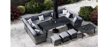 Talia 5E - U Shaped Sofa Combo With Dining Table & Footstools