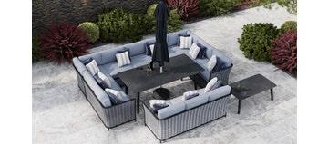 Talia 5F - U Shaped Sofa Combo With Dining Table & Sofa