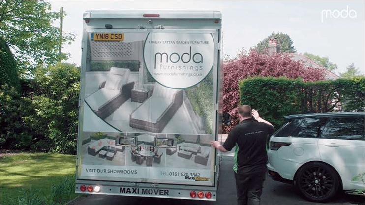 moda van delivering furniture to customer