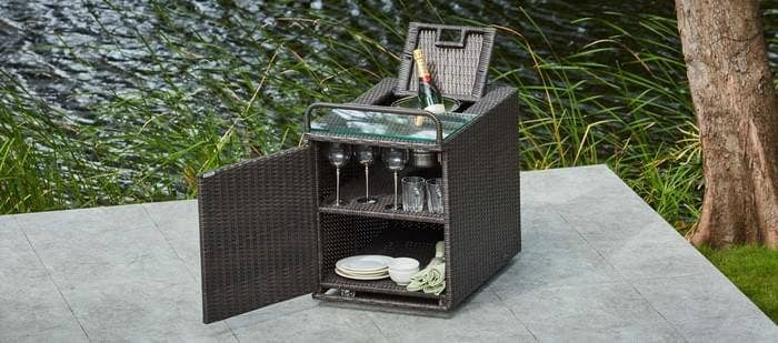 rattan drinks trolly